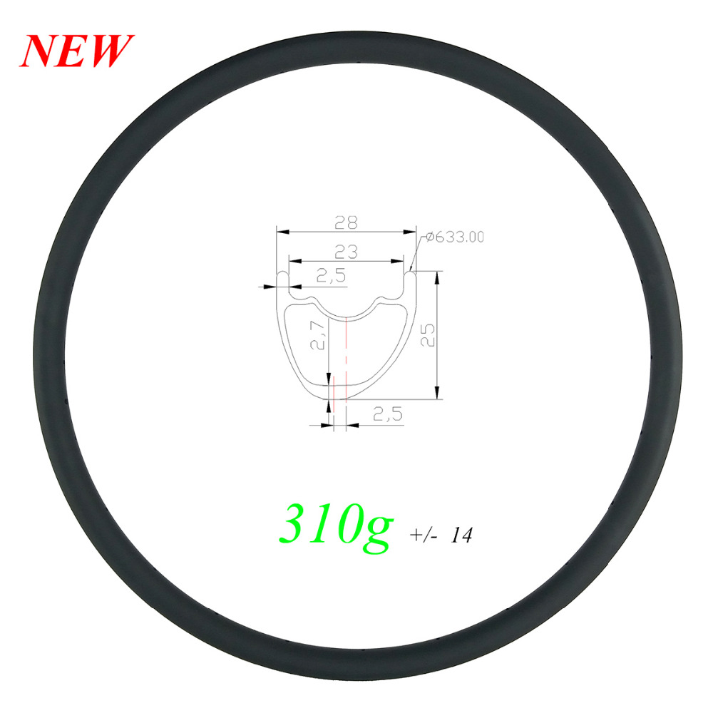 310g ULTRA LIGHT 29er MTB XC 28mm asymmetric carbon rim tubeless UD 3K 12K matte glossy
