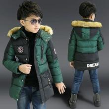 boys winter jacket down-cotton padded medium-long kids outerwear coat children's clothing fur hooded warm boy winter coat