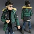 Niños chaqueta de invierno abajo de algodón acolchado medio-largo escudo niños prendas de abrigo niños ropa de piel con capucha del muchacho caliente abrigo de invierno
