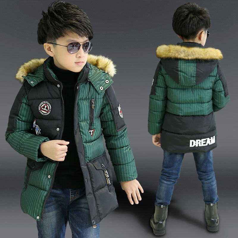 boys winter jacket down-cotton padded medium-long kids outerwear coat children's clothing fur hooded warm boy winter coat boys winter jacket cotton padded fur collar hooded long kids outerwear coat thicken warm boy winter coat children clothing