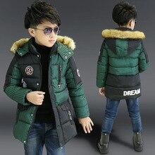 Мальчики зимняя куртка вниз хлопка мягкой средней длины дети верхняя одежда пальто детская одежда меха с капюшоном теплый мальчик зимнее пальто