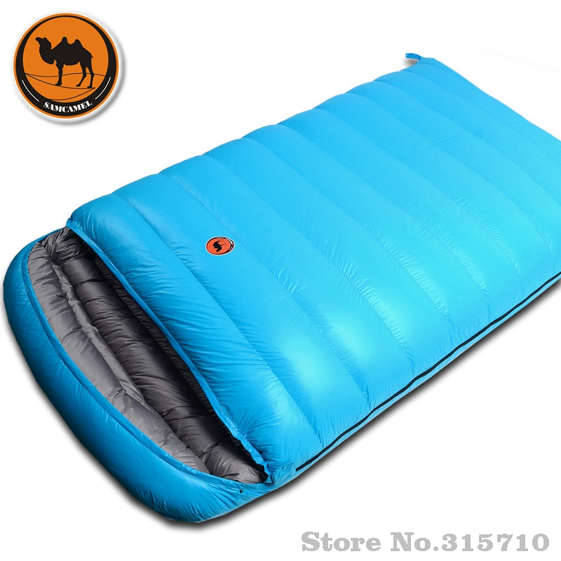 Camel ultraleve acampamento duplo saco de dormir inverno outono envelope pato para baixo sacos de dormir casal acampamento saco quente