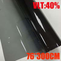 VLT 40% 76cmx300cm/Roll Light Black Car Window Tint Film Glass 1 PLY Car Auto House Commercial Solar Protection Summer