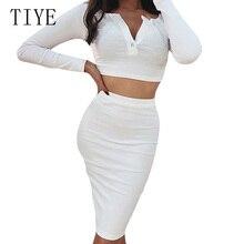TIYE Autumn Fresh and Sweet Deep V Umbilical Top + Solid Bag Hip Skirt Suit Women Long Sleeve Bodycon Bandgae Elegant Dresses