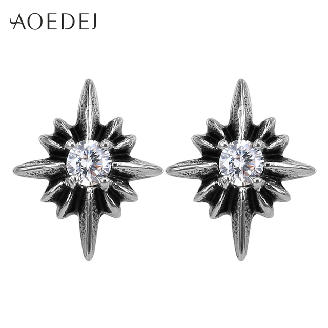 Aoedej Star Earrings Stainless Steel Stud For Men Vintage Rhinestone Punk Ear Studs Oorbellen