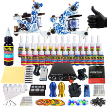 hot deal buy hybrid complete kit for tattoo liner and shader beginner power supply foot pedal grips needles ink set tattoo body&art tk204-41