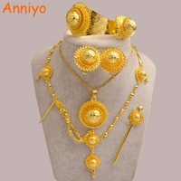 Anniyo Ethiopian Jewelry Set Gold Color Hair Pice Necklace Earing Ring Hair Pin Bangle African Habesha