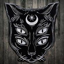 Nakış Aplike yama Otoriter siyah Ay Kedi Demir üzerinde Çıkartmalar Yama Elbise için T-shirt ceketler yama dikiş