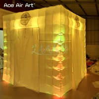 2.4m Led foto cube inflatable photo booth,self touch canopy with 2 foldable doors and free logo in cheapest price for Chile
