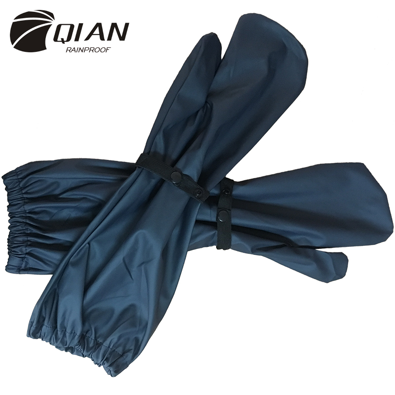 QIAN RAINPROOF New Long PU Waterproof Material Motorcycle Electric Basikal Raincoat Accessories Windproof Rain Gloves Hot Sale