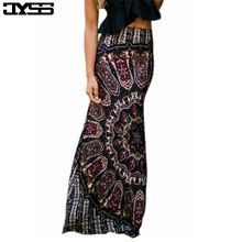 JYSS Europe and the United States summer new retro black printing leisure thin section waist skirt 81118#