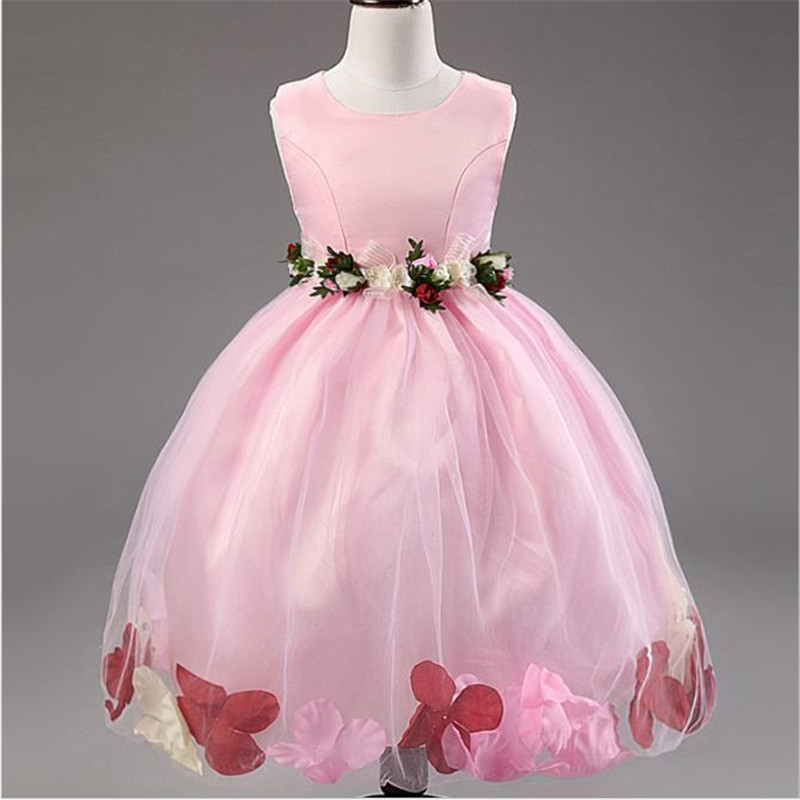 New Brand 2016 Little Girls Wedding Birthday Party Dress Sleeveless ...