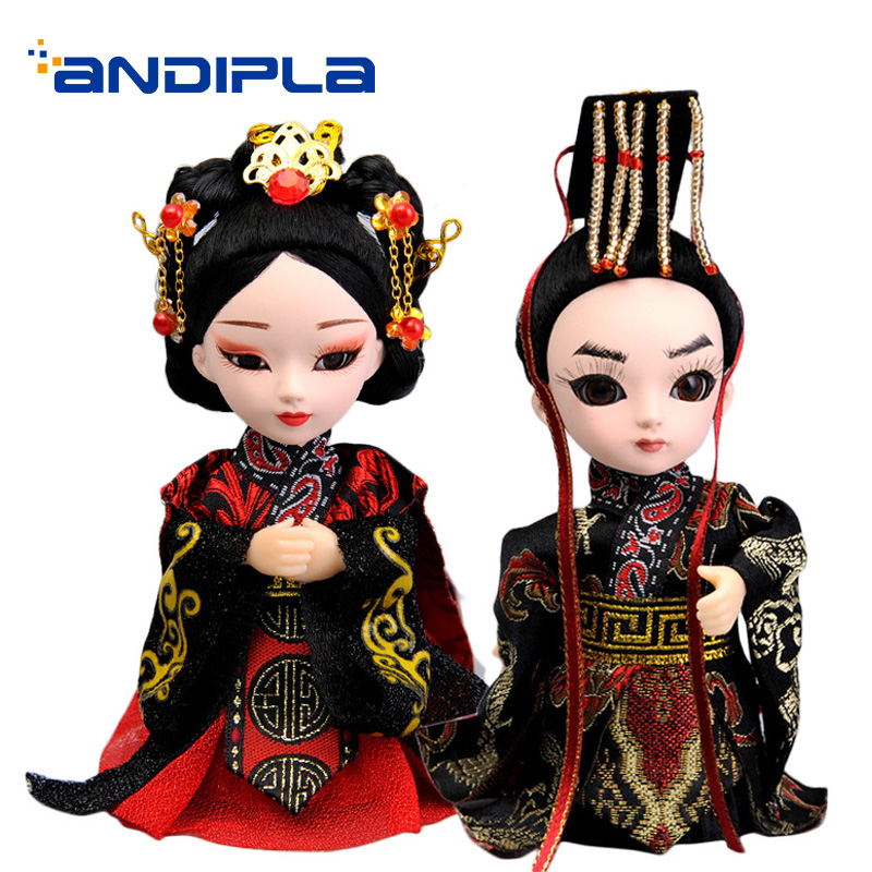 Vintage Palace Character Statues Peking Opera Doll Small Decoration Chinese Souvenir Handmade Imperial Palace Boutique As Gifts image