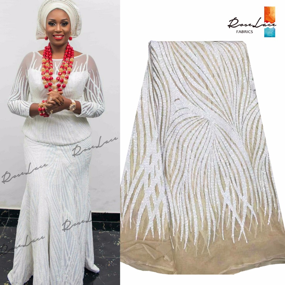 Fashion Style White Sequins Indian Net Lace Material For Women Dress Guipure Laces Nigerian African Ankara