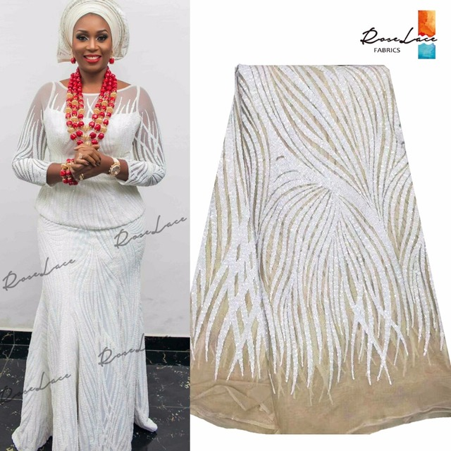 Fashion Style White Sequins Indian Net Lace Material For Women Dress  Guipure Laces Nigerian African Ankara Mesh Tulle Fabrics 9644a236b401