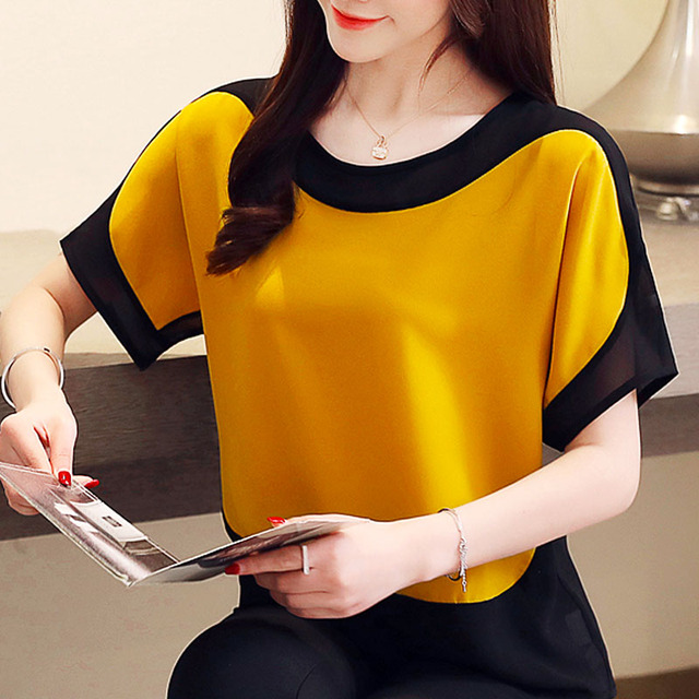 Womens tops and blouses fashion 2019 chiffon blouse plus size ladies tops shirts Solid Short O-Neck Batwing Sleeve 3397 50 5