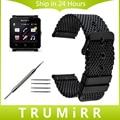 24 мм Из Нержавеющей Стали Ремешок Для Часов + Инструмент для Sony Smartwatch SW2 Миланской Группа Смотреть Замена Ремешок Браслет Черный Серебристый