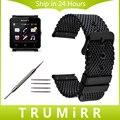 24mm pulseira de aço inoxidável + ferramenta para sony smartwatch sw2 milanese substituição faixa de relógio de pulso strap pulseira de prata preto
