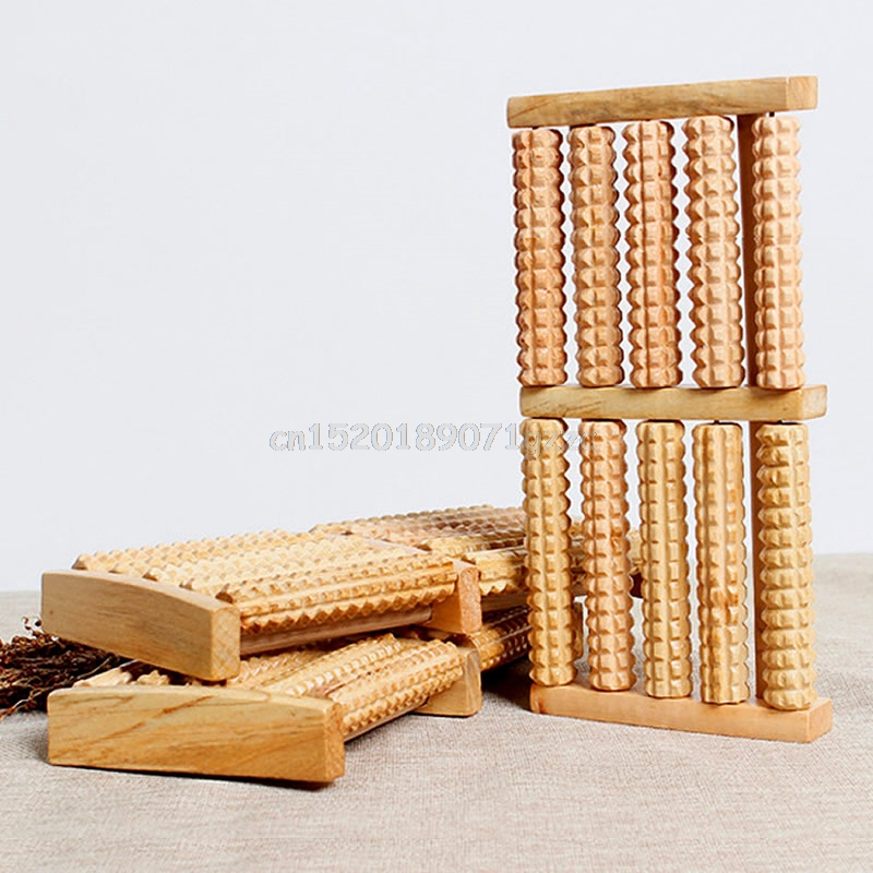 5 Raw Wooden Roller Foot Massager Stress Relief Health Therapy Relax Massage New #H027#
