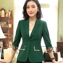 Black White Green Red Plus Size OL Summer Blazer for Women Short Sleeve Slim Fit Jacket Blazer Femme Office Ladies Formal Blazer