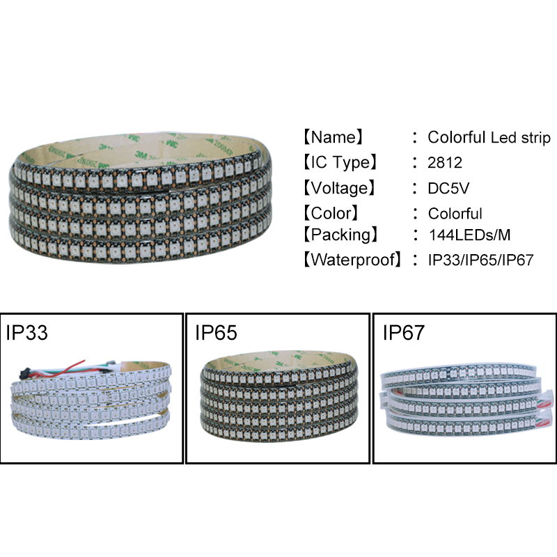 1 metro WS2812 IC LED Strip Light 5V 144 LEDs Flexible LED Diodo - Iluminación LED - foto 4