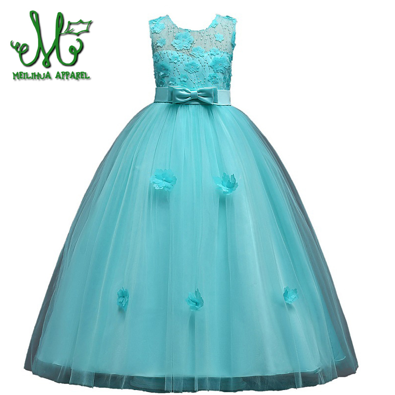 Girls Party Dresses Teenage Girl Clothes Children Flower Bow Girl wedding Birthday Costume Kids Clothing for 6 8 10 12 14 16 Y hayden vintage lace flower girls dresses summer costume for teens girl children clothing kids clothes girls party frocks designs