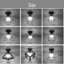 Vintage Ceiling Lights Luster Luminaria Led Ceiling Lamp Loft Iron Cage Fixtures Abajur Home Lighting Plafonnier For Living Room