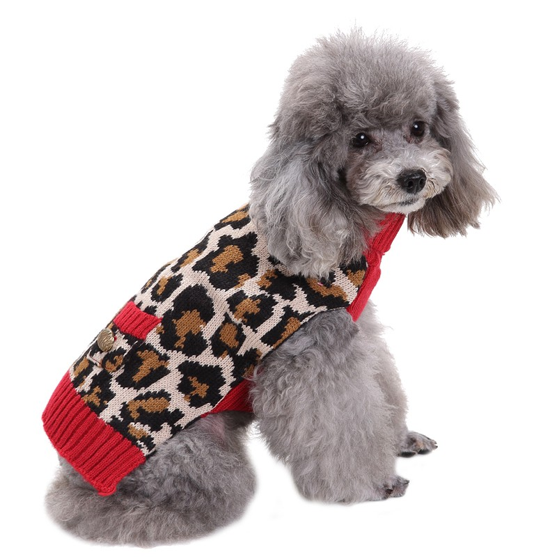 Pet Dog Clothes Big Dog Golden Retriever Dog Teddy Small Dog Leopard Sweater New Style Autumn and Winter