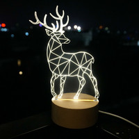 Hot Acrylic LED Solid Wood Deer Night Light USB Creative Style Christmas Gifts 3D Night Lamp