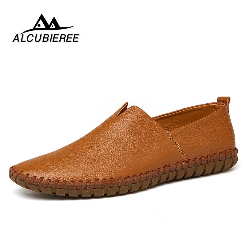 Casuales de los hombres zapatos de conducción zapatos de 2018 hombres mocasines zapatos de cuero zapatos de moda hecho a mano suave y transpirable mocasines pisos Slipe en calzado