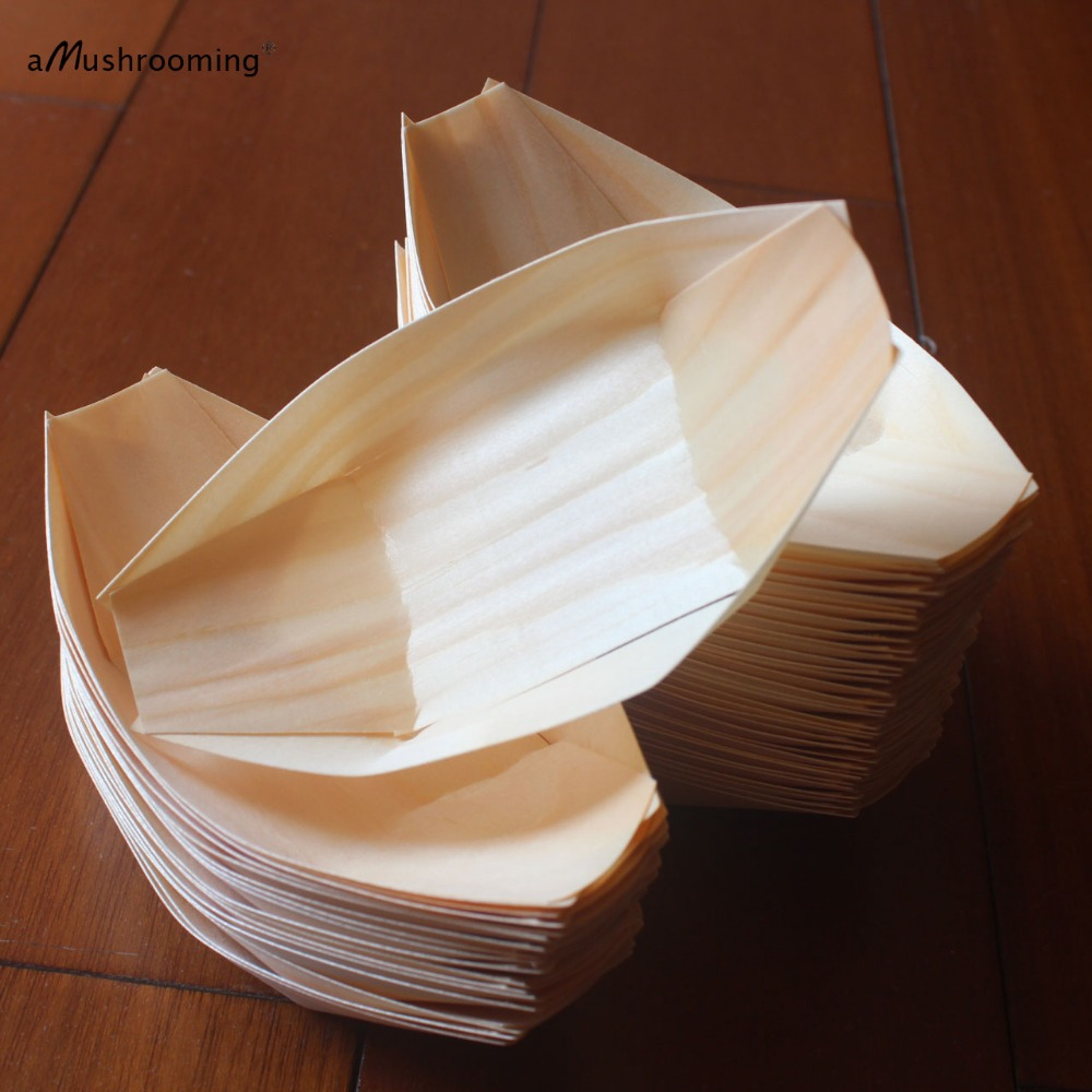 100 Disposable Wooden Plate Wooden Sushi Boat Food Tray