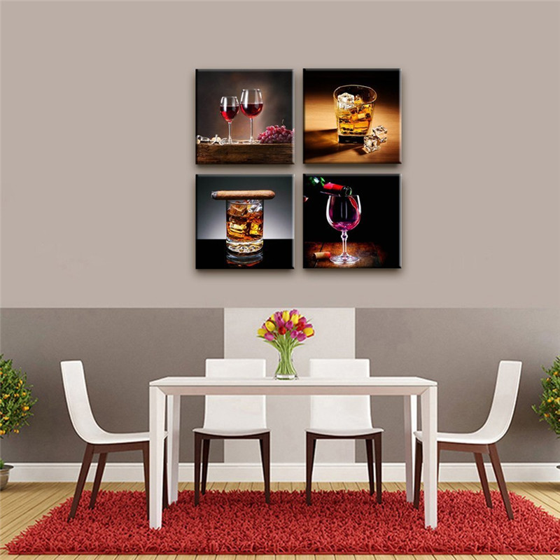 4 Piece Modern Wine And Glass Wall Picutres For Kitchen Wall Art Posters And Prints For