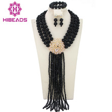 Splendid Nigerian Wedding African Beads Crystal Beads Bridal Jewelry Set African Costume Jewelry Sets Free Shipping