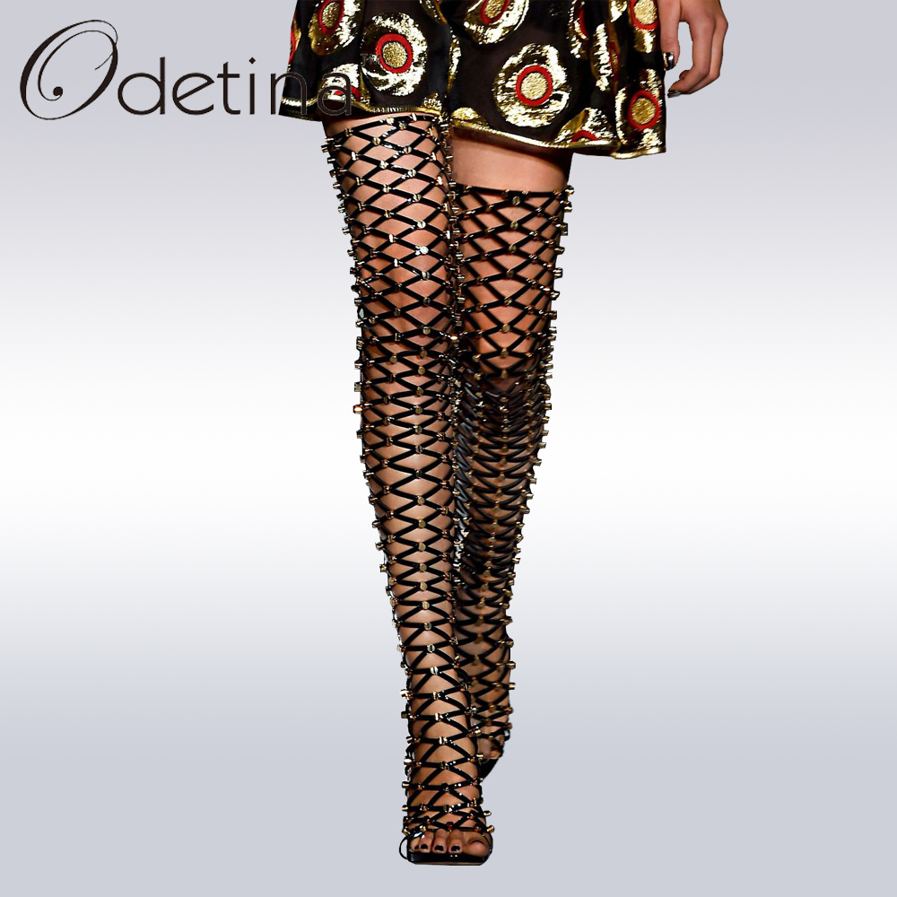 Odetina New Brand 2017 Thigh High Gladiator Sandals Boots Women Sexy Peep Toe High Heel Cut-out Over The Knee Summer Boots Rivet hot boots women sexy black thigh high boots peep toe soft leather back zip high heels over the knee boots gladiator sandal boots