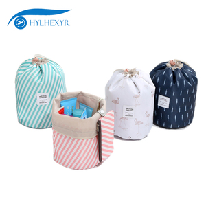 Hylhexyr Women Cylinder Shaped Travel Cosmetic Bag Pull Rope Organizer Case Makeup Make Up Wash Pouch Toiletry Bags(China)