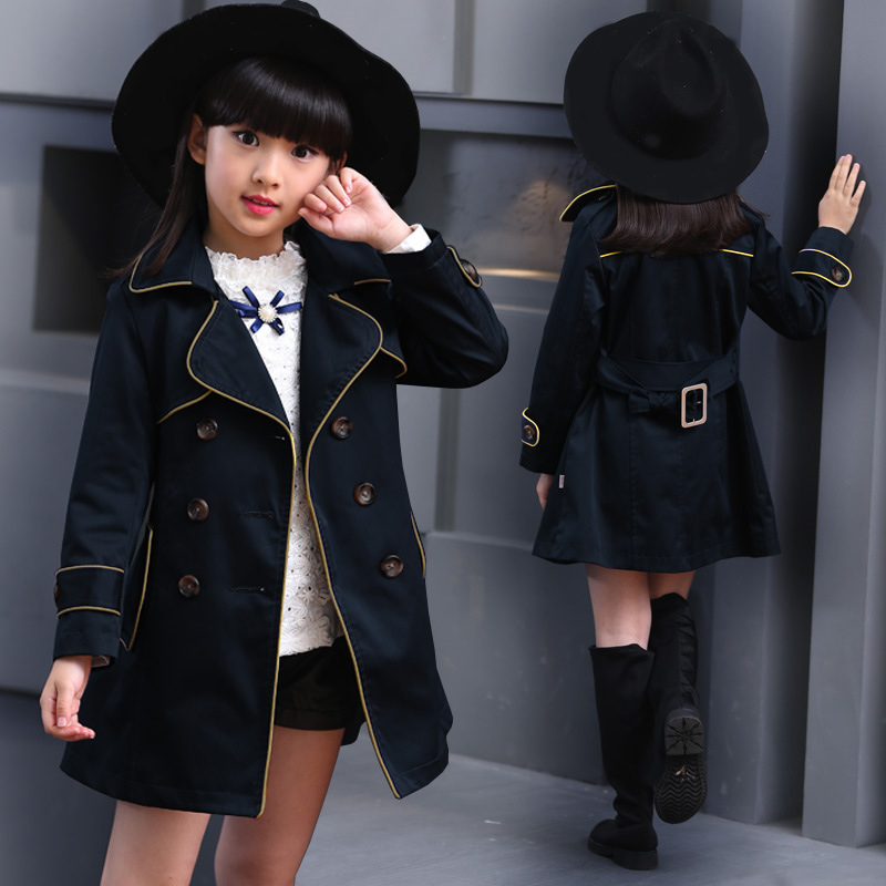 Girls Trench Coat Spring 2018 Children Long Coat Kids Blazer Cotton Outerwear Jackets Teenage Girls Clothing Fashion Outwear цены