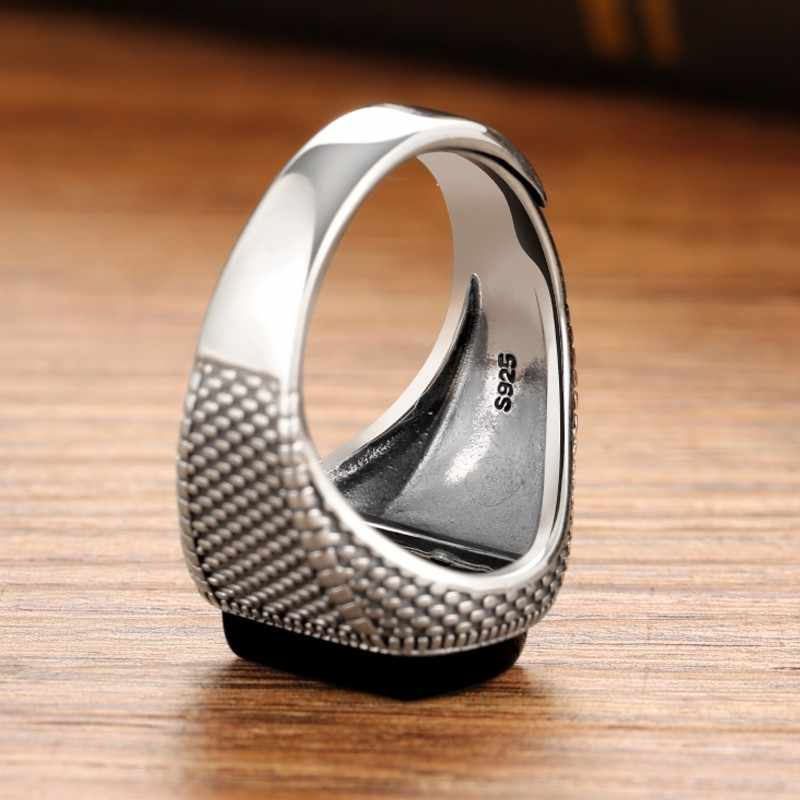 ZABRA สีดำแหวนหินแท้ 925 เงินเปิดขนาด Vintage ผู้หญิง Mens แหวน Cubic Zirconia นิลเครื่องประดับ
