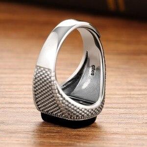 Image 5 - ZABRA Schwarz Stein Ring Männer Echt 925 Sterling Silber Öffnen Größe Vintage Hochzeit Frauen Herren Ringe Zirkonia Onyx Schmuck