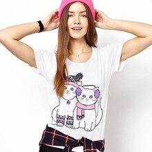 Hot Fashion T Shirt Women Tee Shirt Femme Camisetas Mujer Women Tops Cute Cat Kitty Printed Plus Size White Shirt Woman T-shirt