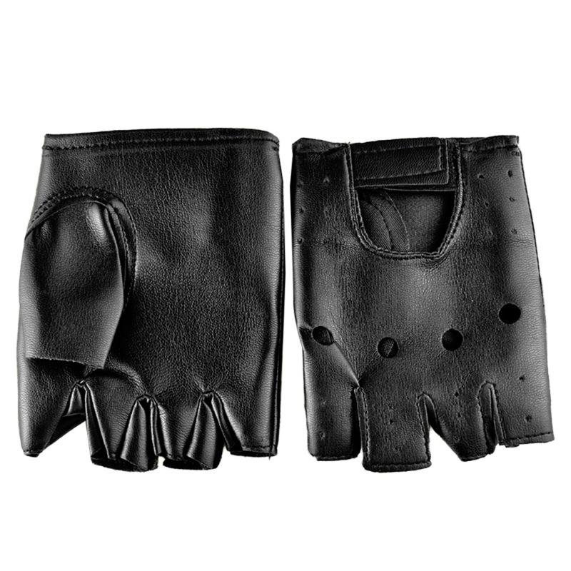 Men Faux Leather Gloves Slip-Resistant Half Finger Fingerless