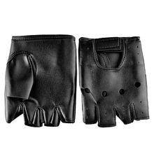 Men Faux Leather Gloves Slip-Resistant Half Finger Fingerless Gloves