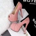 Mulheres Bombas de estilo europeu Retro Moda Sexy Ultra-alta Bombas Sapatos Peep Toe de Camurça À Prova D' Água Sapatos de Singles