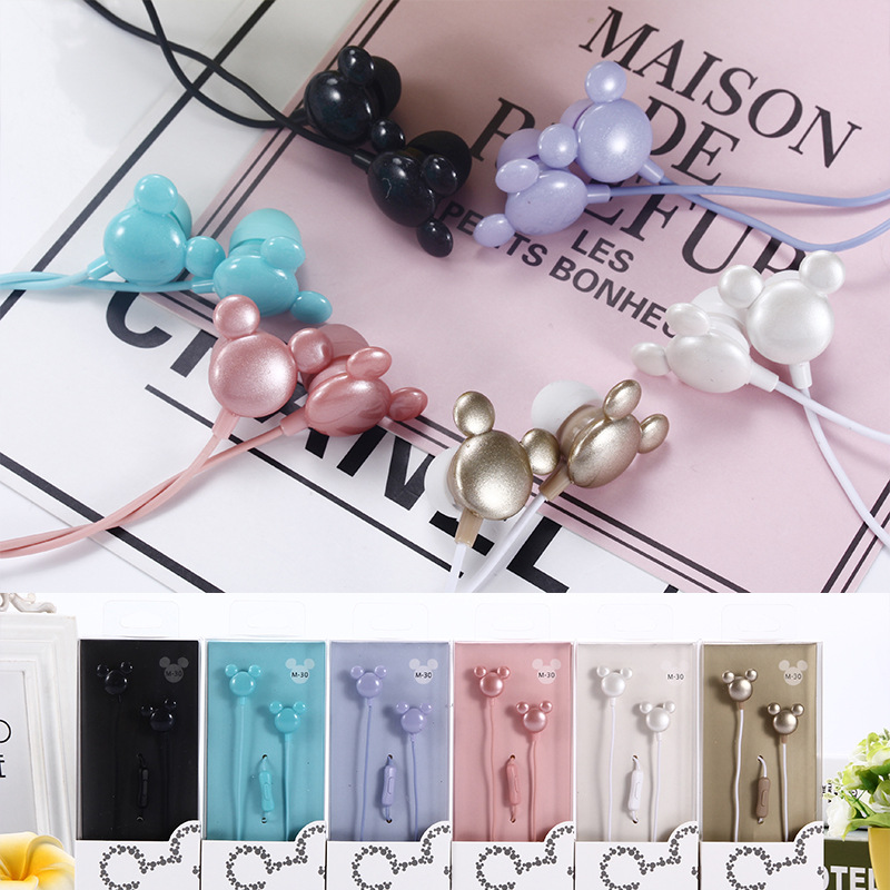 New Special Cute Mouse head Cartoon Earphones Colorful In-ear Earphone 3.5mm Earbuds With Mic Mini Earphone For Smartphone