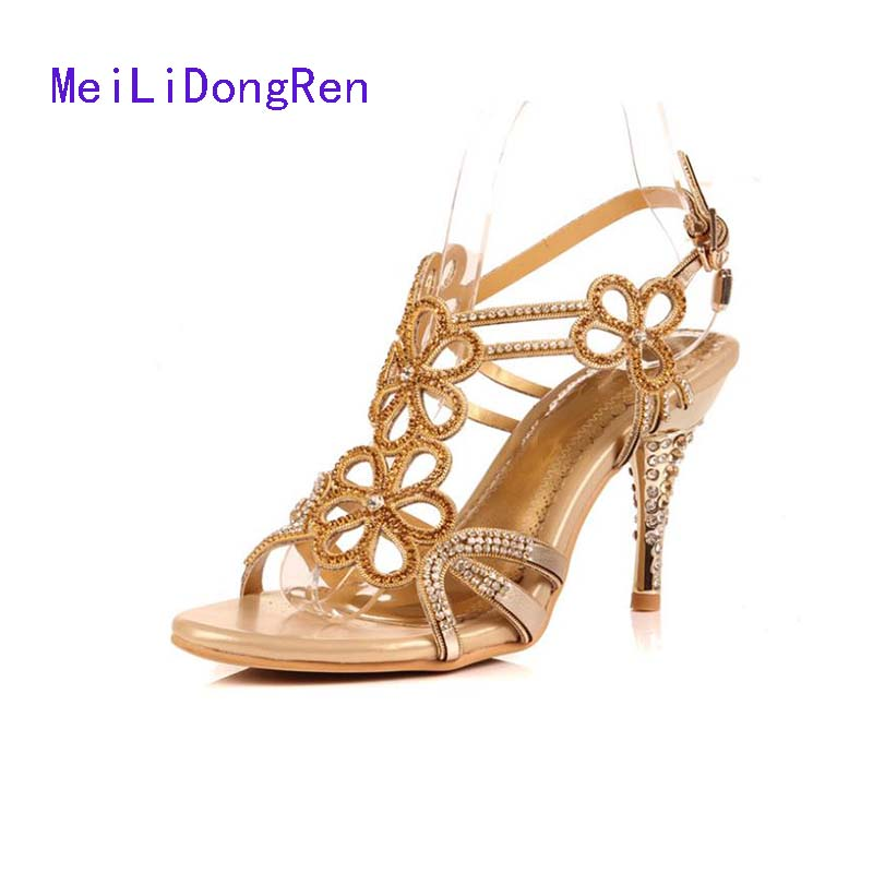 2017 Genuine Leather Gladiator Sandals Rhinestone High Heels Wedding Sheos Diamond Sandals Gold Blue Plus Size 33-41