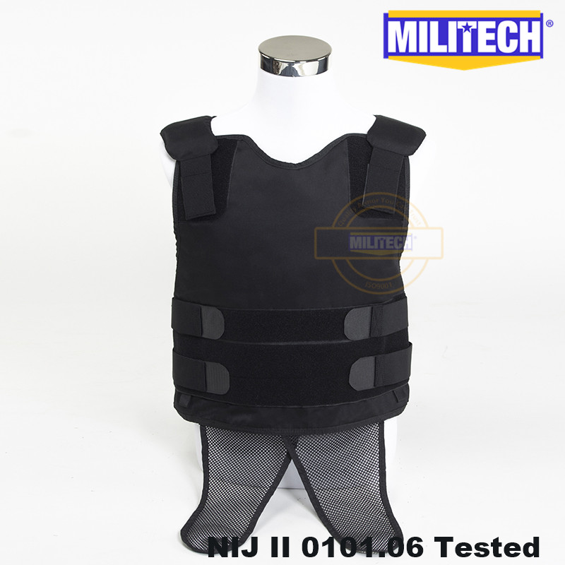 Militech Black NIJ II Lvl 2 Concealable Under Shirt Twaron Aramid Bulletproof Covert Ballistic Bullet Proof Vest Body Armor Vest