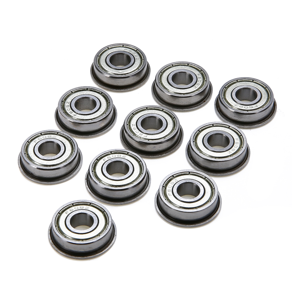 Mayitr 10pcs/lot Mini Flange Ball Bearing Metric F608ZZ Deep Groove Ball Bearings For Mechanical Hardware 8mm*22mm*7mm 5pcs lot f6002zz f6002 zz 15x32x9mm metal shielded flange deep groove ball bearing