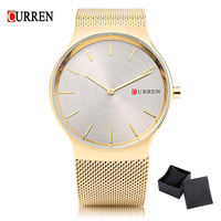 Fashion Golden Men Watch Curren Quartz Watches Full Stainless Steel Net Band Relogio Masculino Waterproof Simple