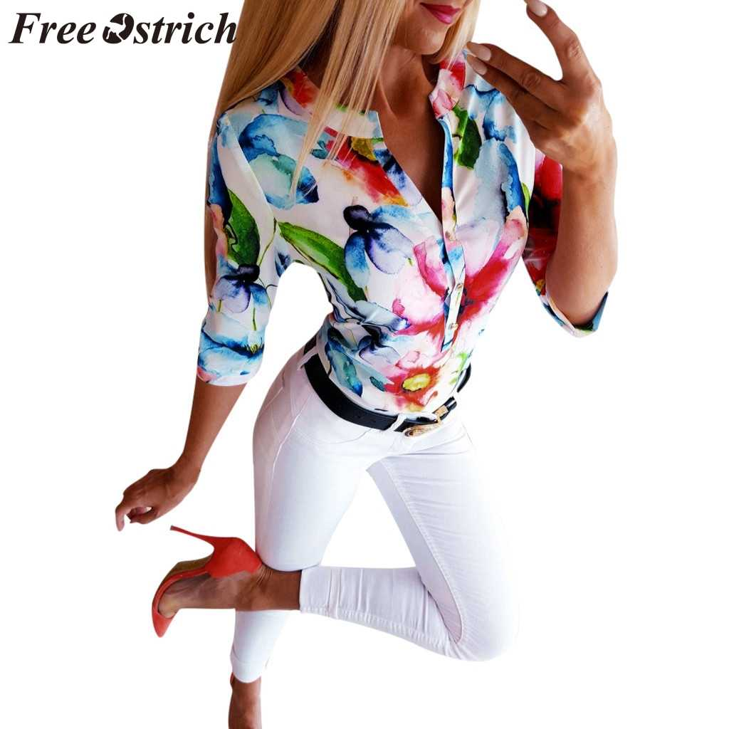 FREE OSTRICH Women Shirts Avant-garde Colorful Chinese Style Print Pattern Slim Button 2019 Fashion Popular Blouse Women Shirts