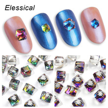 Elessical Hot Sell Fantasy 3D Glass Rainbow Nail Charms Rhinestones For Nails Geometric Cube Square Gems 3D Nails Art Decoration