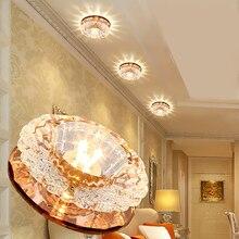 LAIMAIK luz de techo de cristal para pasillo, lámpara LED de 3W para porche, AC90 260V, lámpara de cristal de calabaza, luz LED para pasillo y pasillo